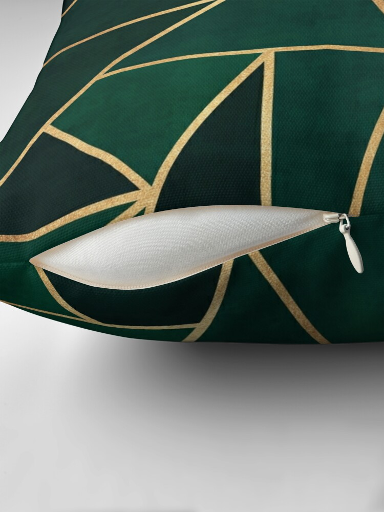 Alternate view of Green & Gold Pattern Throw Pillow