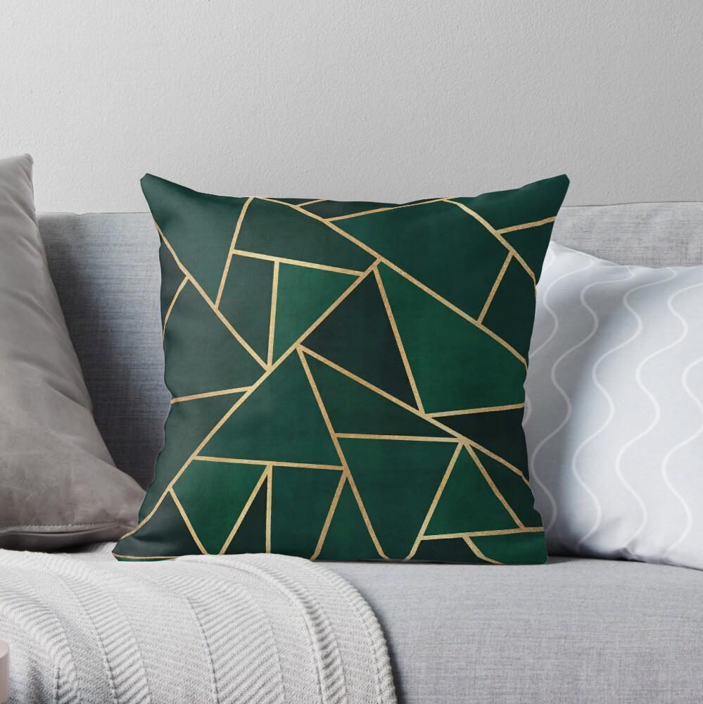 Green & Gold Pattern Throw Pillow