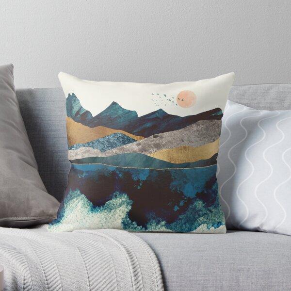 Blue Mountain Reflection Throw Pillow
