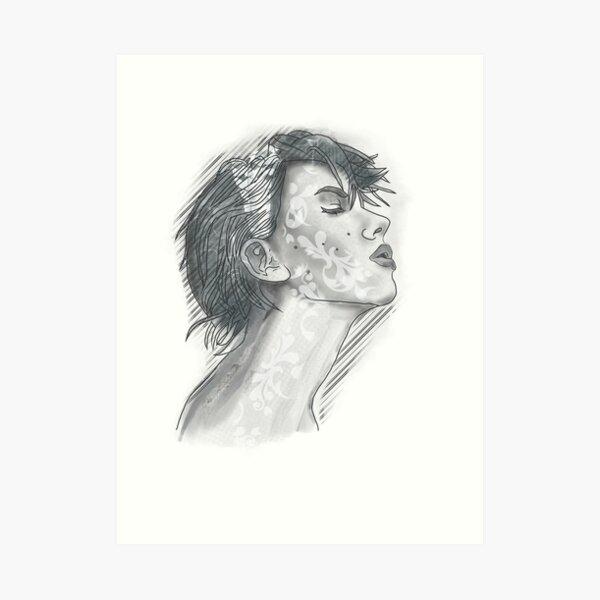 Digital face Art Print