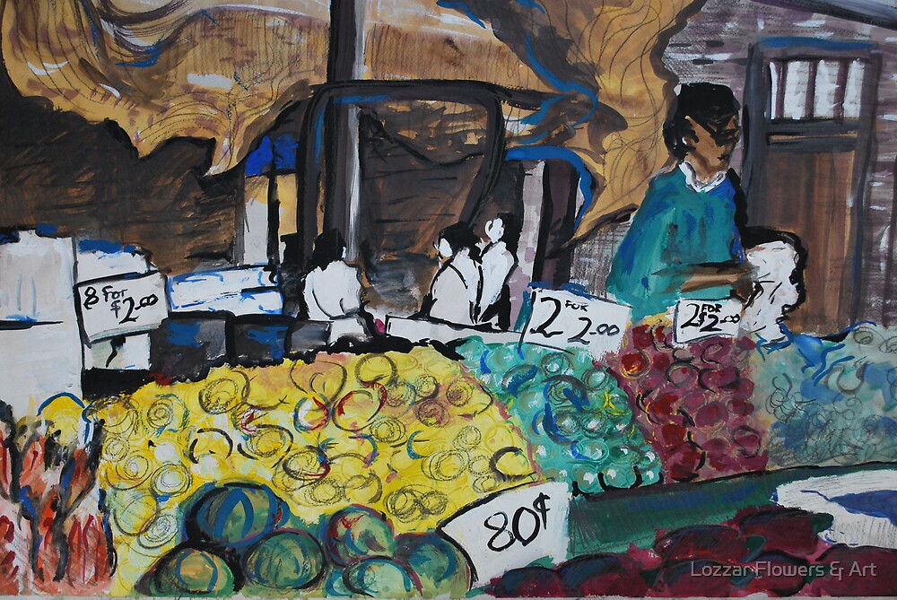 City Landscapes: At the Market by Lozzar Flowers & Art