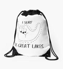 I surf the great lakes Drawstring Bag