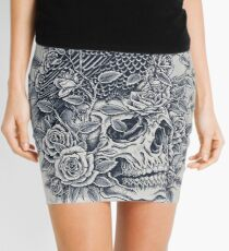 Monochrome Floral Skull Mini Skirt