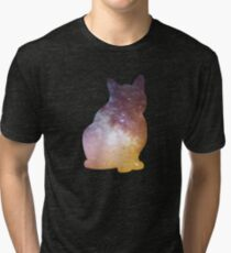 Galaxy Cat Silhouette  Tri-blend T-Shirt