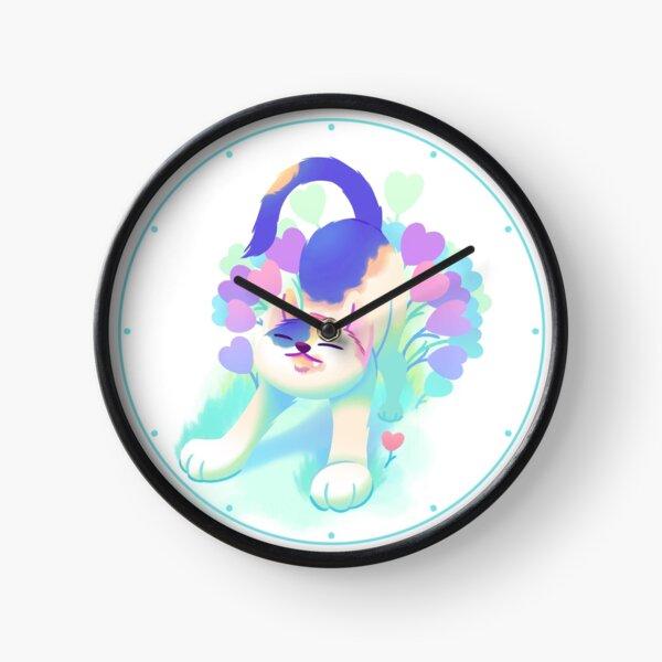 Flower Patch Cat Clock