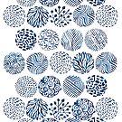 Watercolor indigo doodles by Anna Alekseeva
