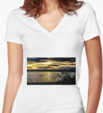 Dark sky with sunset  Women's Fitted V-Neck T-Shirt