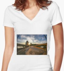 Sunset looking down bridge  Women's Fitted V-Neck T-Shirt