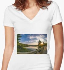 sunset looking down river with bridge  Women's Fitted V-Neck T-Shirt