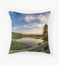 sunset looking down river with bridge  Throw Pillow