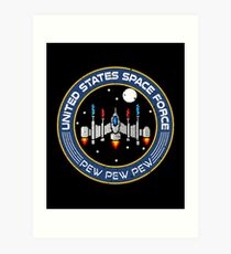 Funny Space Force 8 bit retro game style Spaceship  Art Print