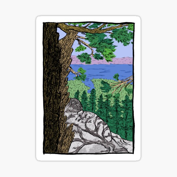 View from Maggies Peaks Sticker