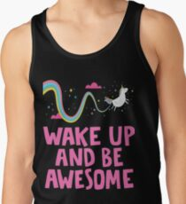 Funny Mommy Of The Birthday Girl Tee Shirt - Wake Up And Be Awsome Unicorn Rainbow Shirts Tank Top
