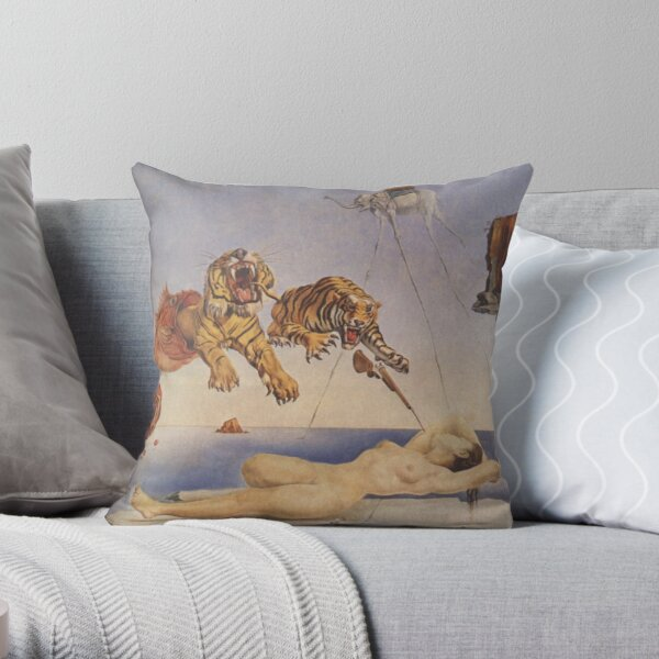 Salvador Dali, Dream Caused by the Flight of a Bee around a Pomegranate a Second before Awakening. Throw Pillow