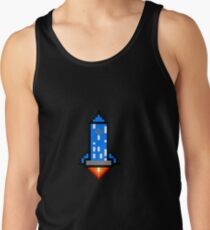 Old School Vintage Arcade Pixel Spaceship Rocket T Shirt  Tank Top
