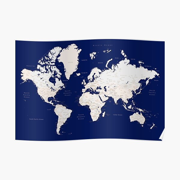 """Navy blue and light brown detailed world map """"Gavin"""" Poster"""