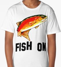 Fish On Yellowstone Cutthroat Trout Fish Fishing Fly Sports Rocky Mountain Man Cave Fisherman Dad Father Gift Ideas Char Long T-Shirt