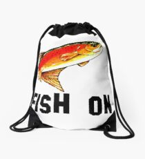 Fish On Yellowstone Cutthroat Trout Fish Fishing Fly Sports Rocky Mountain Man Cave Fisherman Dad Father Gift Ideas Char Drawstring Bag
