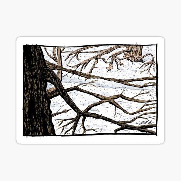 Tree Branches in a Snowscape Sticker