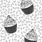 Coloring Book Cupcake and Sprinkles by latheandquill
