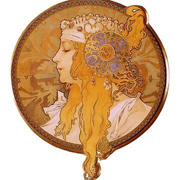 Alphonse Mucha, Byzantine Head. The Blonde by TOMSREDBUBBLE