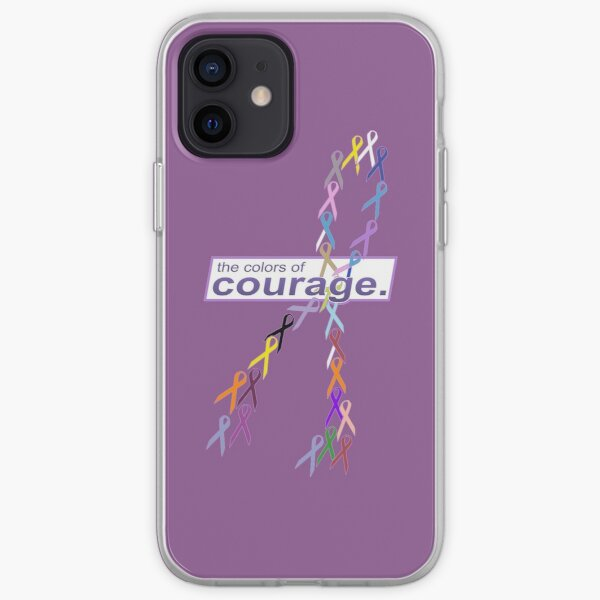 The Colors of Courage Cancer Awareness Ribbons Illustration iPhone Soft Case