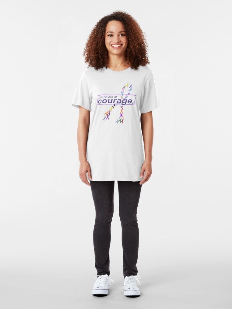Alternate view of The Colors of Courage Cancer Awareness Ribbons Illustration Slim Fit T-Shirt