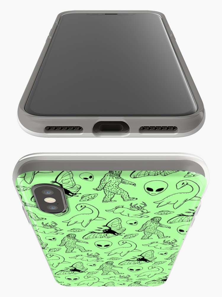 Alternate view of Cryptid Pattern (Green Background) iPhone Cases & Covers