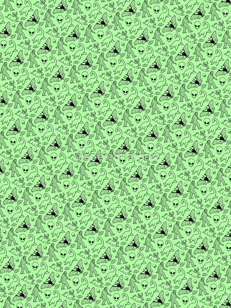 Cryptid-Muster (grüner Hintergrund) von dianeleonardart