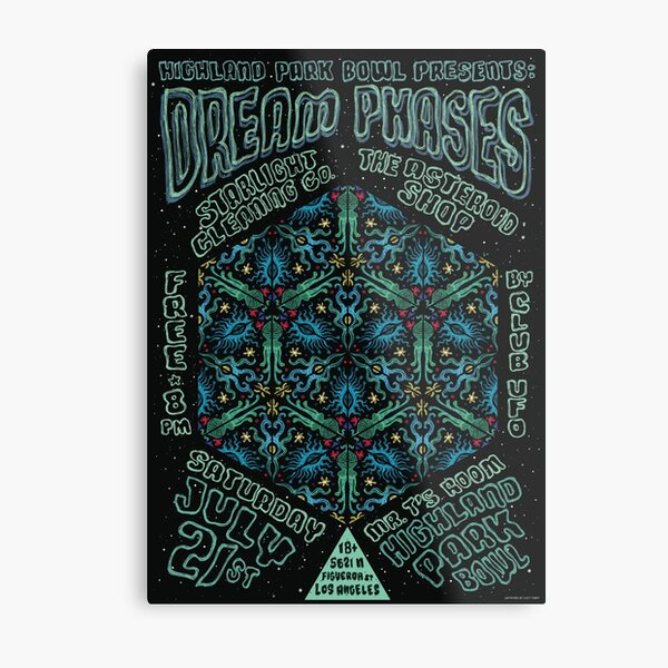 Dream Phases Gig Poster - 7/21/2018 Highland Park Bowl, LA Metal Print