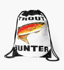 Trout Hunter Yellowstone Cutthroat Trout Char Fish Fishing Fly Gift Idea Father Dad Husband Rocky Mountain Jackie Carpenter Drawstring Bag