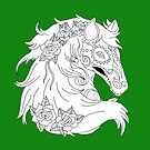 Color Me Sugar Skull Horse With Roses by J-CCreations