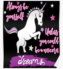 Funny Mommy Of The Birthday Girl T-Shirt - Wake Up And Be Awsome Unicorn Rainbow Poster
