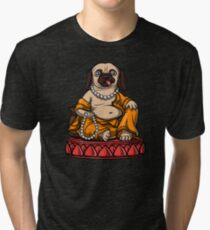 Pug Buddha Yoga Zen Meditation Dog  Tri-blend T-Shirt