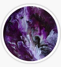 Abstract Purple Metallic Round Acrylic Pour Planet Sticker