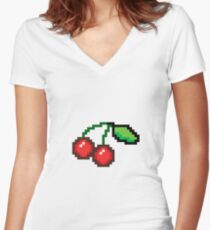 Pixel art cherries Women's Fitted V-Neck T-Shirt
