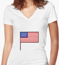 Pixel art USA flag steady Women's Fitted V-Neck T-Shirt