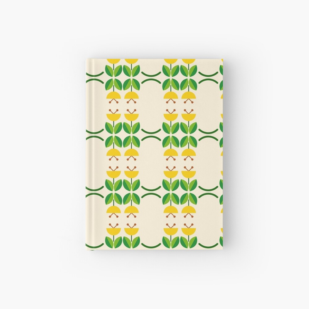 flat design floral beauty seamless colorful repeat pattern Hardcover Journal