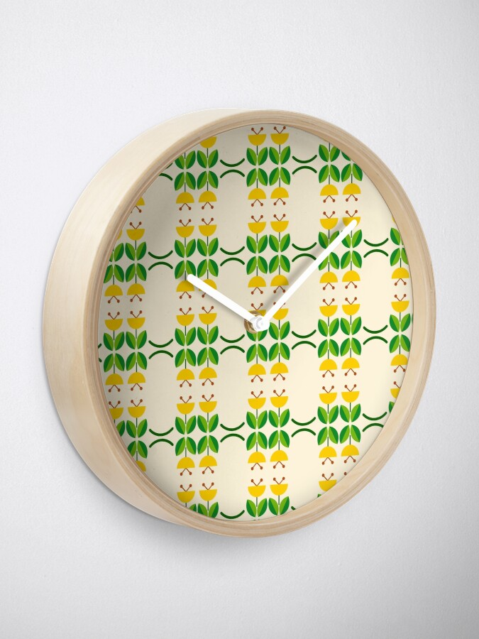 Alternate view of flat design floral beauty seamless colorful repeat pattern Clock