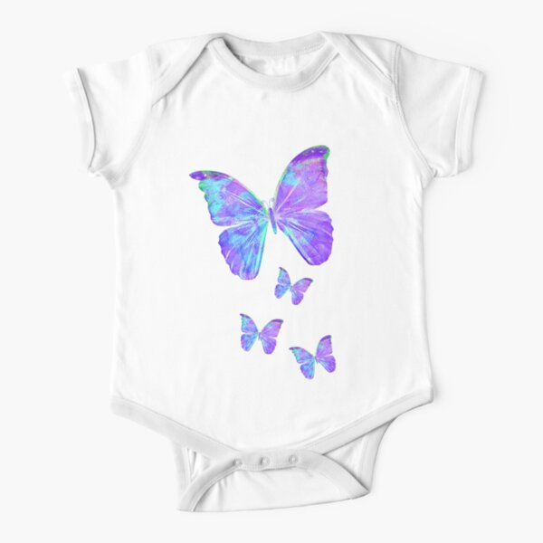 Purple Butterflies by Jan Marvin Short Sleeve Baby One-Piece