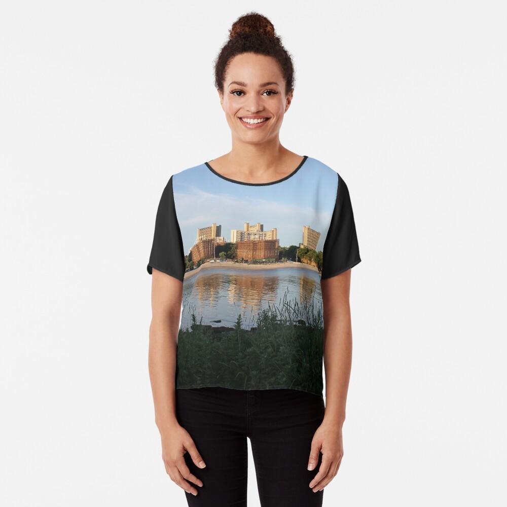 New York City, Buildings, Water, Grass, Gulf, Nature, View, #NewYorkCity, #Buildings, #Water, #Grass, #Gulf, #Nature, #View Chiffon Top