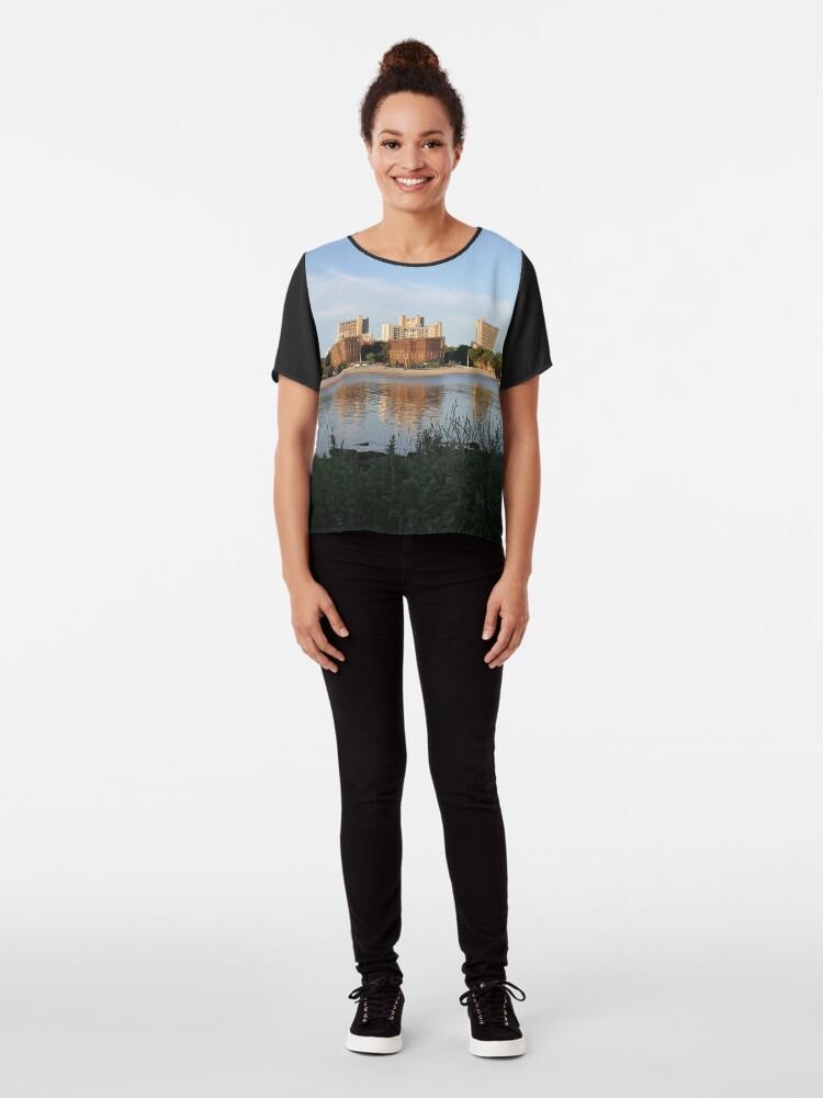 Alternate view of New York City, Buildings, Water, Grass, Gulf, Nature, View, #NewYorkCity, #Buildings, #Water, #Grass, #Gulf, #Nature, #View Chiffon Top