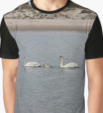 Swans, swan family, water, bay, morning, nature, the mystery of nature, #Swans, #SwanFamily, #water, #bay, #morning, #nature, #MysteryOfNature Graphic T-Shirt