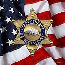 County of Los Angeles Sheriff's Department - LASD Deputy Sheriff Badge Badge over American Flag by Serge Averbukh