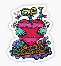 Lovebirds by The Bird Artist [Lowbrow Cartoon Bird / Street Art - Cute Adorable Weird: Bird Holding Heart With Flowers] Sticker