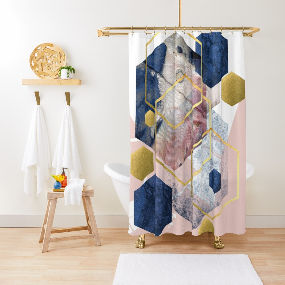 Abstract Geo Shower Curtain