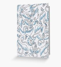 Blue and White Noodle Dragons Greeting Card