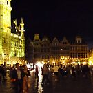 Grand Place at night. by Laura Cutmore