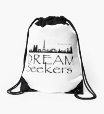 Dream Seekers - Europe 2018 black on white Drawstring Bag