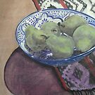 Pears in Blue Moroccan Bowl by Libby Yee